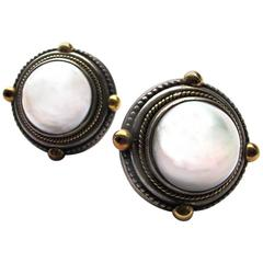 1980's Stephen Dweck Mabe Pearl and Sterling Silver Clip Earrings