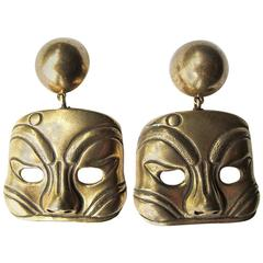 1980's Isabel Canovas Large Kabuki Mask Dangle Clip Earrings