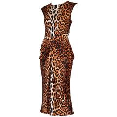 2008 A/H Christian Dior by John Galliano Silk Leopard Cocktail Dress