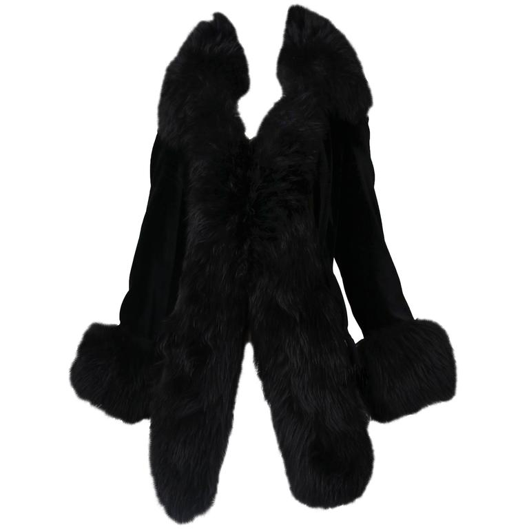 Vivienne Westwood Black Velvet Jacket With Oversized Faux Fur Trim For Sale