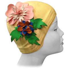 1950s Latex Swim Cap with Fabulous Flower Appliques