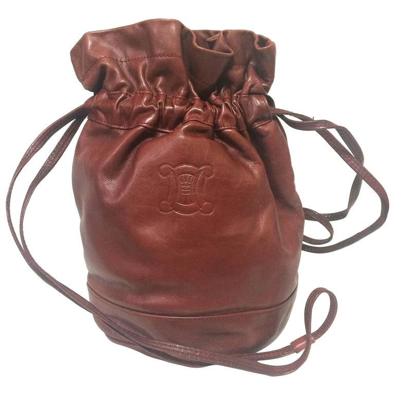 Vintage Celine wine brown nappa leather hobo bucket shoulder bag with blason