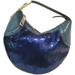 2000s Gucci Glam lizard skin blue sequins Bag