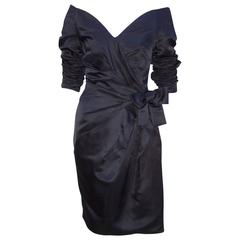 Dramatic 1980's Scaasi Black Ruched Cocktail Dress