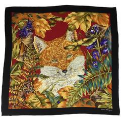 Ferragamo Fox Scarf with Floral Fur. 1980's. 100% Silk.