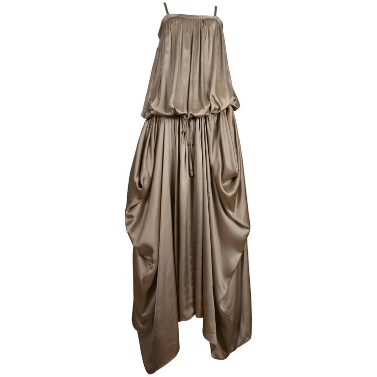 Kenzo Jap taupe viscose drawstring evening dress, circa 1977