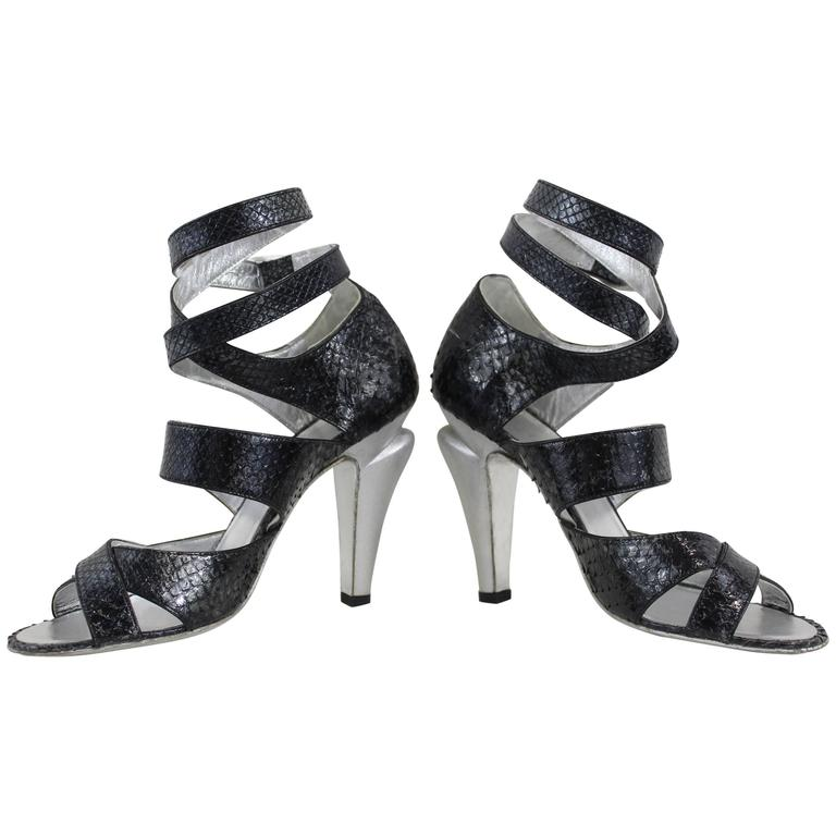 Chanel Silver Lezard Sandals. Size EU 38