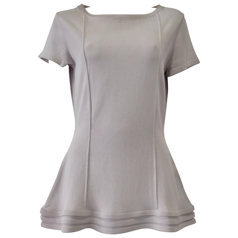 Original Claude Montana Lilac Spaced Aged Ribbed Hem Peplum Top For Sale