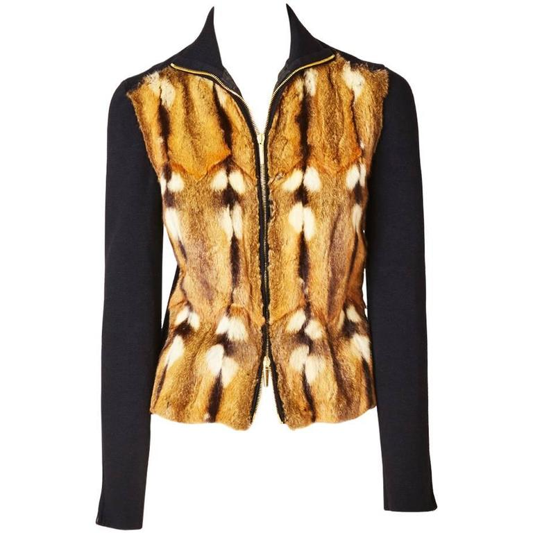 Tom Ford for Gucci Fur and Wool Knit Zip Front Cardigan For Sale