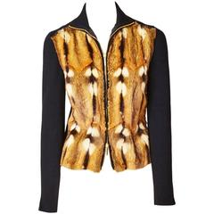 Tom Ford for Gucci Fur and Wool Knit Zip Front Cardigan