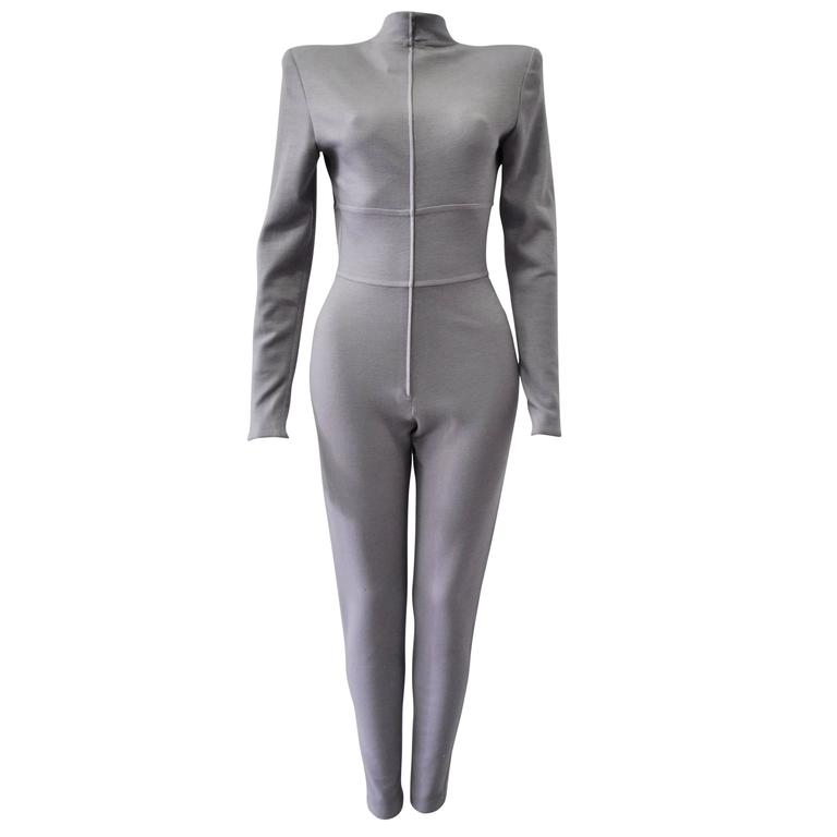 Very Rare Claude Montana Space Age Lilac Knit Jumpsuit 1