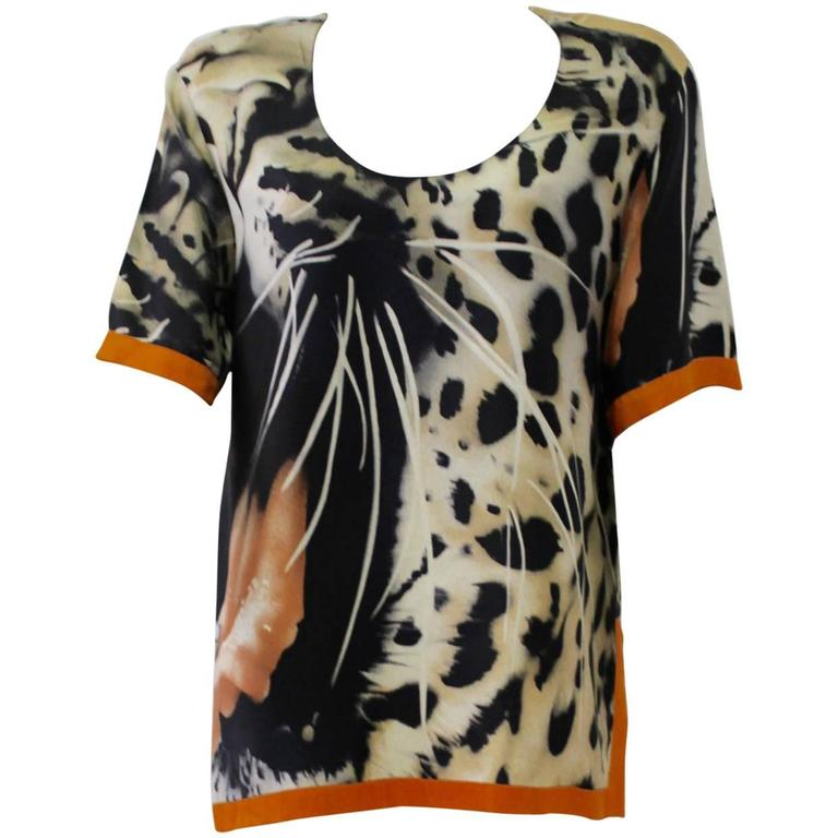 Unique Gianfranco Ferre Abstract Animal Print Top with Orange Contrast Piping