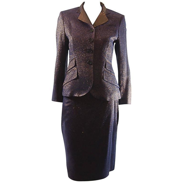 Nina Ricci  Haute Boutique Evening Metallic Skirt Suit