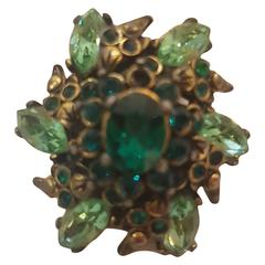 1980s Hollycraft green Ring