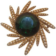 1980s Har Gold tone green ston brooch