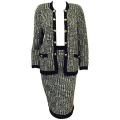 Vintage Adolfo Black and White Wool Houdstooth Check Skirt Suit From Montaldo's