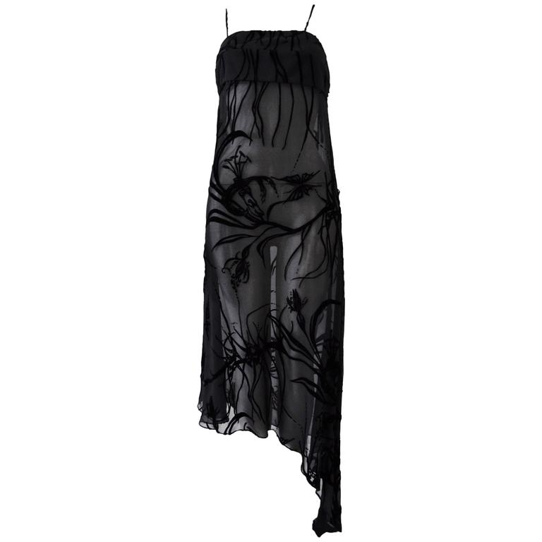 Mod Angelo Mozzillo Sheer Black Burnt Out Velvet Dress