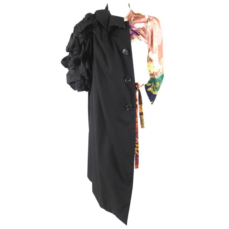 aadca846609 Comme des Garcons AD 2011 A W Runway Right Half Coat with Vintage Scarf  Sleeve For Sale at 1stdibs