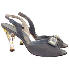 50s Grey Suede & Lucite Heels with Flower Details