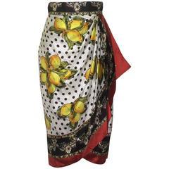 Dolce & Gabbana Lemon, Cart, and Polkadot Draped Silk Skirt