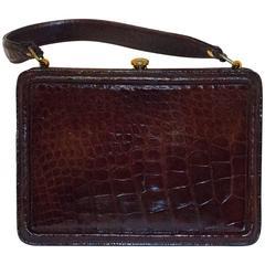 40s Brown Alligator Handbag
