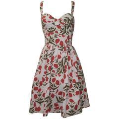 New Oscar de la Renta Spring 2012 Red Poppy Print Cotton Dress