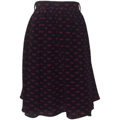 Prada Black and Red Lip Print Silk Skirt