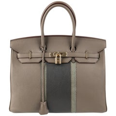 HERMES Club Birkin Ltd Ed 35 Etain Graphite Clemence Leather Gris Fonce Lizard