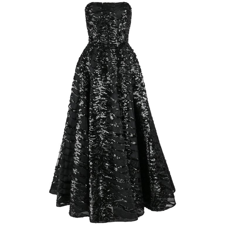 HAUTE COUTURE 1950s Black Sequin Ball Gown Evening Theater Opera Party Dress For Sale