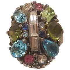 1980s Hollycrafs multitone stones ring