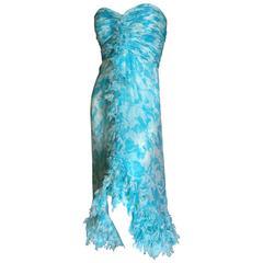 Oscar de la Renta Ruffled Silk Strapless Vintage Cocktail Dress
