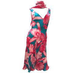Celine Silk Sleeveless  Dress with Matching Scarf