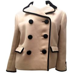 Norman Norell Beige and Dark Blue Coat - 1960's