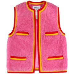 CHANEL 1994 A/W Bubble Gum Pink Alpaca Cashmere Vest Signature CC Logo Size 34
