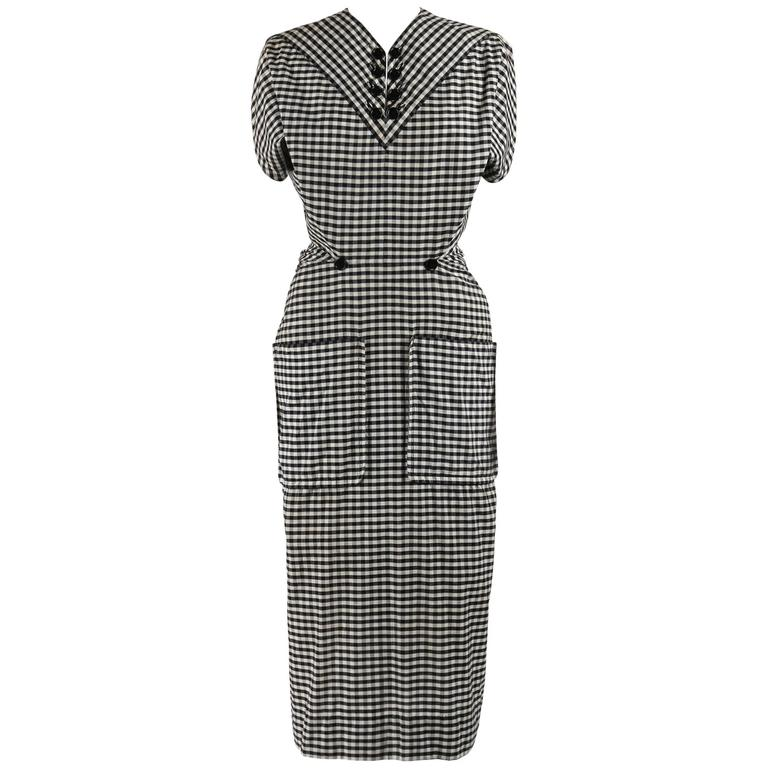 1949 S/S JACQUES FATH Black & White Gingham Fan Back Peplum Afternoon Dress 1