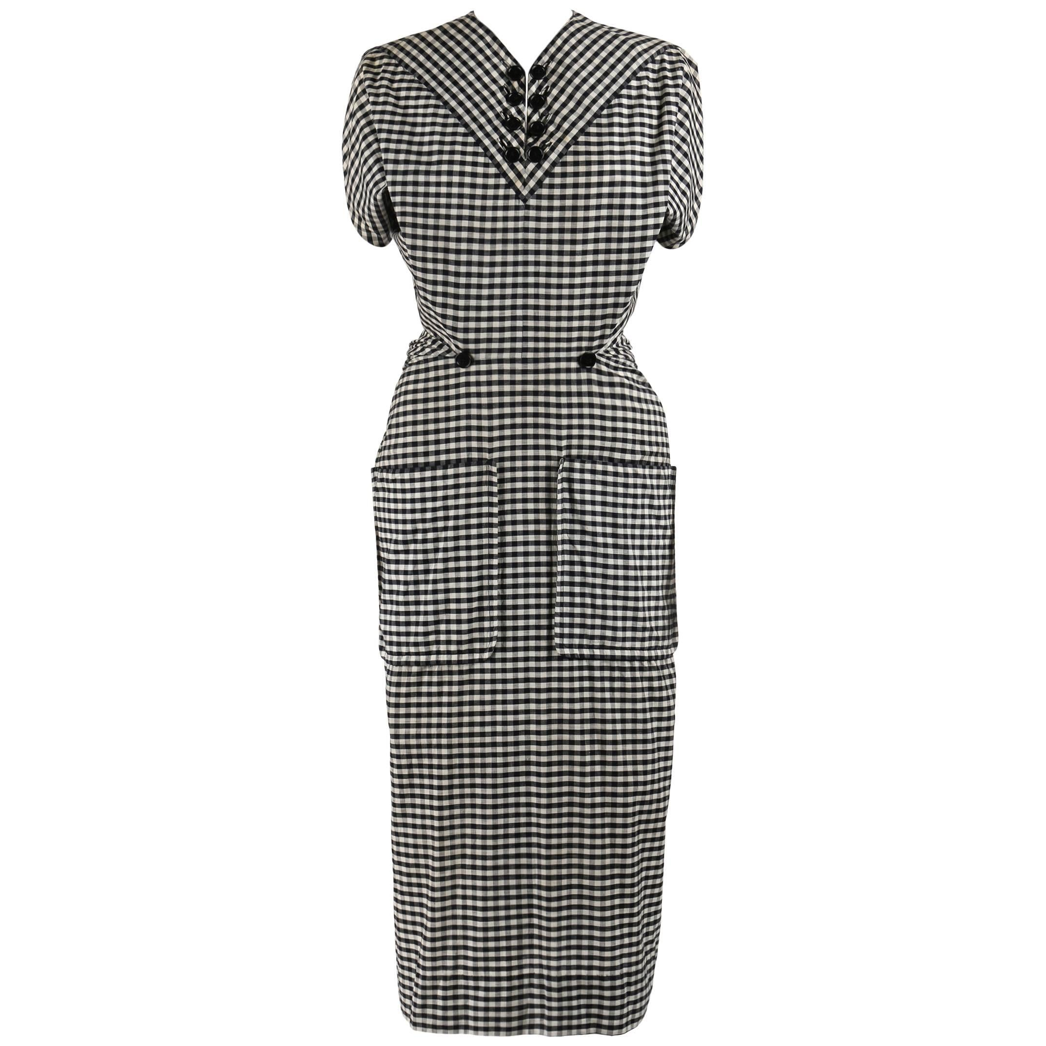 1949 S/S JACQUES FATH Black & White Gingham Fan Back Peplum Afternoon Dress