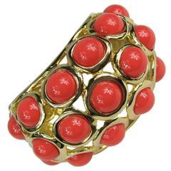 Vintage Kenneth J.  Lane Faux Coral Large Bracelet