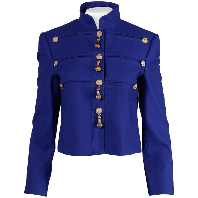 Louis Feraud Vintage Blue Wool Military Jacket For Sale