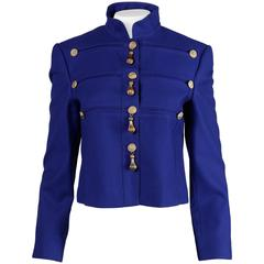 Louis Feraud Vintage Blue Wool Military Jacket