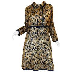1960s Metallic Gold & Blue Malcolm Starr Dress & Jacket