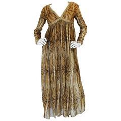 1970s Metallic Gold Animal Print Silk Bill Blass Dress