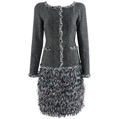 Chanel 13A Edinburg Grey Wool and Ostrich Feather Skirt Suit