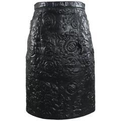 Christopher Kane Rosa Black Embossed Leather Pencil Skirt