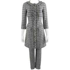 Chanel 13B Grey Tweed Dress Coat and Pants Suit