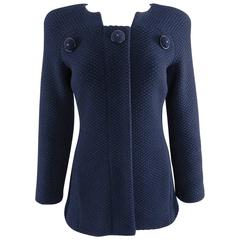 Chanel 15B Navy Textured Wool Jacket with Buttons