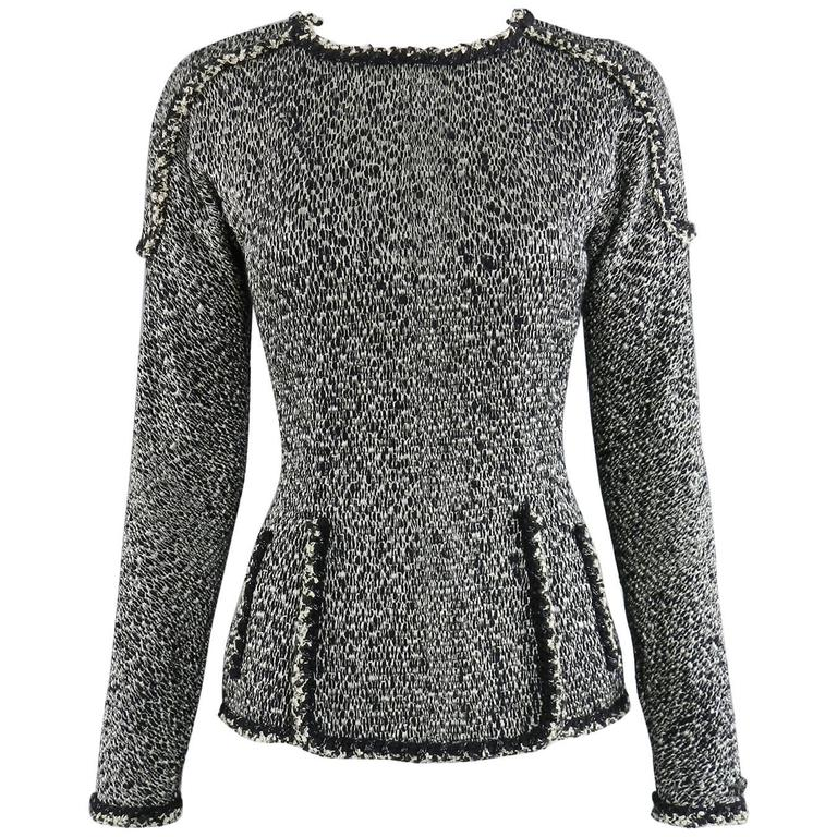Chanel 11A Black and Ivory Long Sleeve Runway Top 1