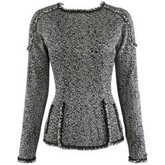 Chanel 11A Black and Ivory Long Sleeve Runway Top