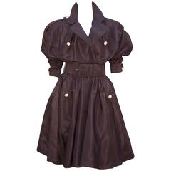 Showstopping 1980's Michael Casey Brown Taffeta Trench Coat Dress