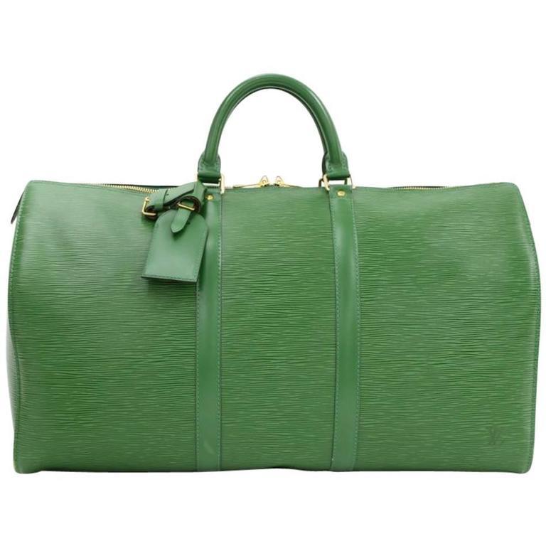 Vintage Louis Vuitton Keepall 50 Green Epi Leather Travel Bag 1