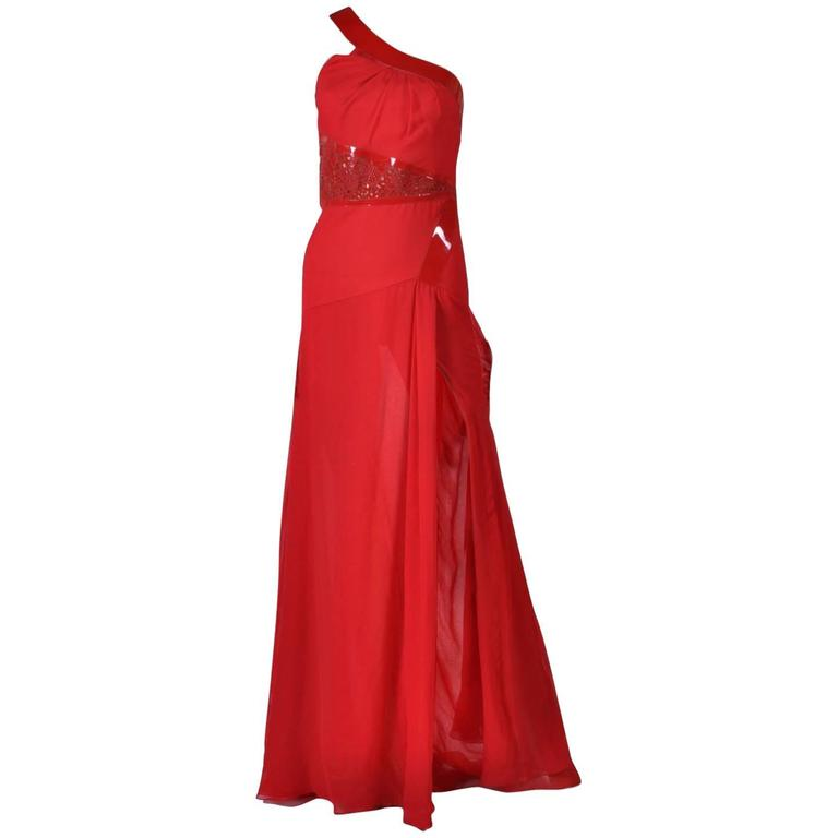 Versace Red Silk Chiffon Gown Dress with Patent Leather  For Sale